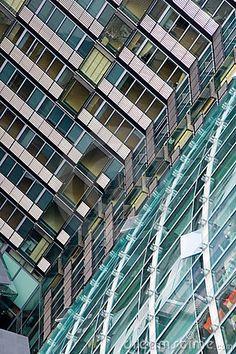 Modern office skyscraper buildings in Potsdamer Platz, Berlin, Germany.