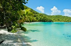 5 amazing beaches line Hawknest Bay on beautiful St John, US Virgin Islands.