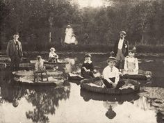 Children float on Victoria Amazonica water lilies - Salem, North Carolina ... c.1892 : TheWayWeWere