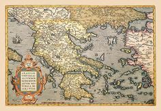 Abraham Ortelius (also Ortels, Orthellius, Wortels; 14 April 1527 – 28 June was a Flemish cartographer and geographer, generally recognized as the creator of the first modern atlas, the Theatrum Old Maps, Antique Maps, Greece Map, Map Globe, Greek Art, Historical Maps, Cartography, Vintage World Maps, Vintage Art