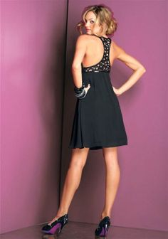 Chiffon gown with sequines, black