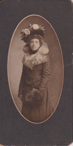 Woman with a Large Hat, Long Coat and Fur - Antique Photograph