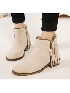 Street Wear All Match Round Toe Honey Girl Boot Chunky Heel Side Zipper Tassel Decorated Boot