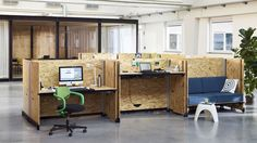 The desk, called Hack, is made of raw wooden panels that are meant to evoke the spirit of startup companies—and appeal to them as well.