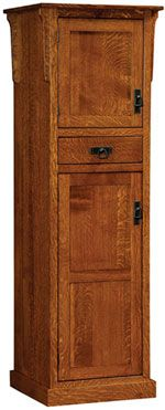 Amish Furniture - Hand Crafted Shaker and Mission Furniture   2 Door Mission Pantry: Oak