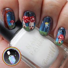 Freehand Fairy Magical Mushroom Forest Nail Art. Ithinity Beauty - Nail Art Blog