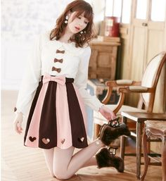 Kawaii sweet bow long-sleeved shirt and skirt