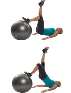 9 Best Bodyweight Exercises for Bad Knees: Stability Ball Single-Leg Lift and Lower