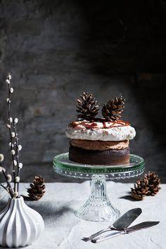 chocOlate sponge cake with meringue mousse au chocolat & salted caramel sauce