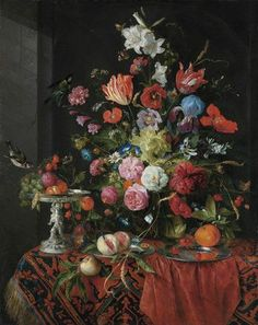 Jan Davidsz. de Heem (Utrecht 1606-1684 Antwerp), Flowers in a glass vase on a draped table, with a silver tazza, fruit, insects and birds.