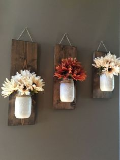home_decor - Fall Wall Sconce Individual Mason Jar Sconce Cream wall Sconce Rustic Decor Painted Mason Jar Floral wall sconce Diy Home Decor Rustic, Easy Home Decor, Cheap Home Decor, Country Decor, Western Decor, Home Crafts Diy Decoration, Diy Home Décor, Homemade Home Decor, Rustic Crafts