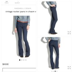 Vintage Rocker Madewell Jeans Brand new 31 x 34 Madewell Vintage Rocker Jeans in Chasm. These jeans are brand new and will come with the Madewell shopping bag. Comfy,classic,sleek, comfy and perfect for fall fashion. Pair with a sweater, your favorite tunic, tank, t-shirt or whatever your heart desires and some awesome accessories. Perfect for any occasion and ***Gift wrap available. I offer a free gift with your $100.00 purchase and amazing discount on bundles.  Make me an offer!!! Madewell…