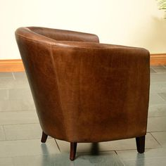 Brown Ingrassato Leather Tub Chair - Modish Living