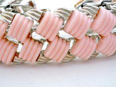 Vintage Signed Coro Pink Thermoset Wide Bracelet Silver Tone Vintage