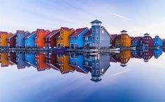 Lataa kuva Groningen, Alankomaat, vettä, heijastuksia, Hollannissa
