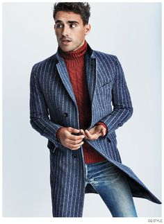Chalkstripe coat casually worn.