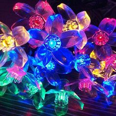 WER 0.5W Peach Blossom Solar String Lights,50 LED Waterproof Solar Outdoor Decoration Lighting for Christmas,Garden,Indoor/Outdoor,Patio,Lawn,and Holiday Festivals-4 Colors