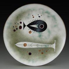 Elizabeth Madley; Enameled Copper Dish, 1950s.