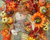 Its Fall Yall-Fall Thanksgiving Holiday Wreath-Scarecrow-Sunflowers-Bright Colors-Great for Apt or between storm door and front door