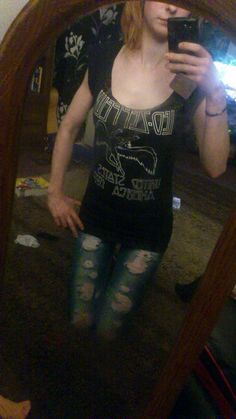 Aimee Betts with her customised Led Zeppelin tee