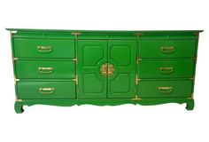 Green Asian-Style Bassett Dresser chest credenza #colorfurniture