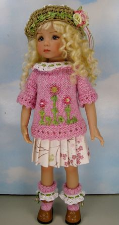 "Dianna EFFNER13"" Little Darlings OOAK Knit Outfit Cherry Parfait by Janet"