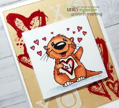 Valentine otter with heat emobossed background.  Quick tip video tutorial also.  Neat Nook Creations