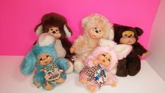 Monchichi Thumb Sucking Bear / Rabbit Vintage Plush Figure Doll Lot Rabbit, Plush, Teddy Bear, Dolls, Friends, Animals, Ebay, Vintage, Bunny
