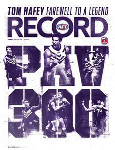 2014 AFL Record Round 9 | Matthew Pavlich 300 games | Publication Cover Editorial Layout, Editorial Design, 300 Game, Sports Graphic Design, Sports Graphics, Magazine Design, Magazine Covers, Posters, Concept