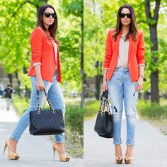 Mango Blazer, Zara Jeans, Chanel Bag, Casadei Pumps
