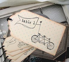 Wedding Escort Card Vintage Inspired Tandem Bicycle Tag  can be done with 3 dif coloured stamp ink- trim+background+table number