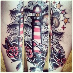 Lighthouse tattoo by the very talented Gre Hale from Rain City Tattoo, Manchester