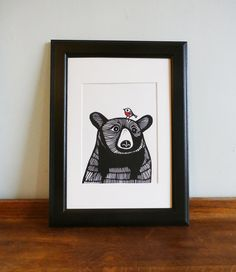 This Bear and Robin is an original linocut print (NOT a digitally reproduced print).  Limited edition of 50. Titled and hand signed in pencil by me, the artist.  The Bear and Robin have been drawn and carved into linoleum and hand printed by me using water based ink onto 220gsm Seawhite paper.  As I individually print all my items, there are very small variations between the print. But that is what makes them all original and individual! The size of this pair is 14cm x 15cm and the paper…