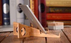 Portable Bamboo Wooden Desktop Folding Holder for Tablets iPad Laptop