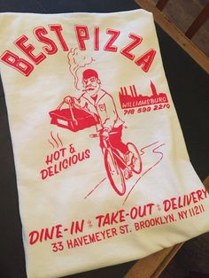 ** Please allow 4 - 7 days for the order to be processed and shipped ** Classic red and white pizzeria T. Pizza Branding, Pizza Logo, Vintage Labels, Vintage Tees, Logo Pizzeria, T Shirt Photo, Tee Shirt Designs, Cheap Shirts, Apparel Design