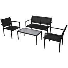 Black Metal Sofa Set Garden Patio Deck Furniture Coffee Table Chairs Bench Decor
