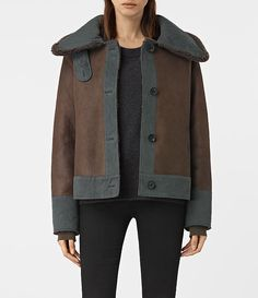 Womens Calder Shearling Jacket (Chocolate Brown) - product_image_alt_text_1