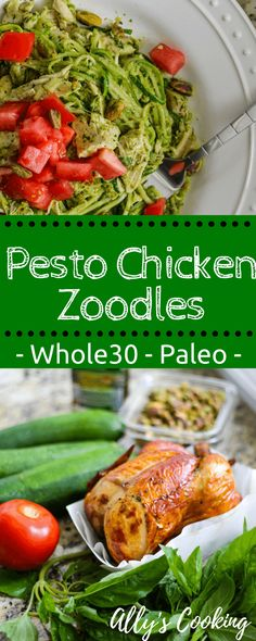 Whole30, Paleo Pesto Chicken Zoodles via @Ally's Cooking