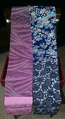 Vintage Kimono Silk Handmade Scarf - Holiday Gift - Red Wave, Blue Floral, Pink