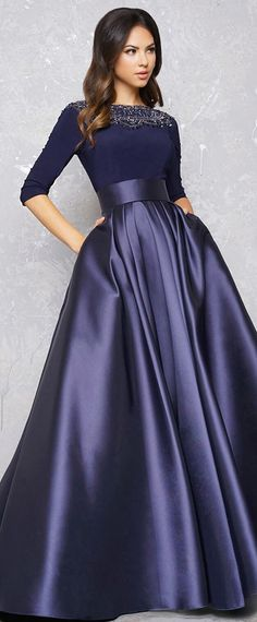 Gorgeous Spandex & Satin Bateau Neckline Length Sleeves A-line Evening Dress With Beadings & Pockets - Prom Dresses Design Evening Gowns With Sleeves, A Line Evening Dress, Prom Dresses With Sleeves, Formal Evening Dresses, Ball Dresses, Ball Gowns, Elegant Evening Gowns, Formal Gowns With Sleeves, Modest Formal Dresses