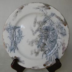 Antique Steel Blue Chrysanthemum Transferware Plate with Silver Overlay Spatterware by EnglishTransferware, $19.99