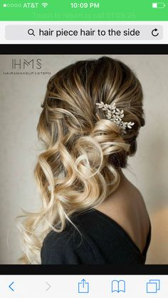 Side curls bridesmaids hair style with diamond accent comb