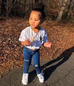 I ain't talkin' Nike when I'm talkin' about a check ✅🔥💸👑 SHOP the LOOK❗️- Nike jacket, earrings, watch & name necklace: USE… Cute Little Girls Outfits, Cute Baby Girl Outfits, Kids Outfits Girls, Toddler Girl Outfits, Cute Baby Clothes, Cute Kids Fashion, Baby Girl Fashion, Toddler Fashion, Cute Mixed Babies