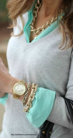 I love this simple shirt and sweater with chunky jewelry