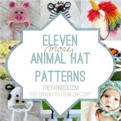 Eleven [more] animal hat crochet patterns- free crochet pattern directory