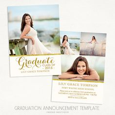 Senior Graduation Announcement Template for Photographers 016 - ID230, Instant Download