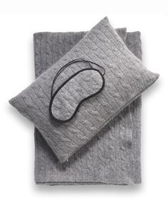 Sofia Cashmere Emilia Grey Cashmere Travel Set for the chilly aircon'