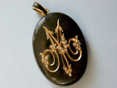 "Antique Victorian Mourning 18K Gold Onyx Seed Pearl 2 25"" Photo Locket Pendant 