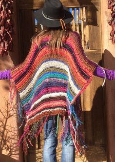 Knitting Patterns Wear Similar Items Like Hip Length Womens Bohemian Festival Hippie Beach Poncho Cape Scarf Knitted . Hippie Chic, Hippie Beach, Hippie Style, Boho Chic, Bohemian, Crochet Shawl, Knit Crochet, Poncho Cape, Poncho Shawl