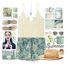 """""""Summer Hats"""" by doga1 ❤ liked on Polyvore featuring Kate Spade, MANGO, Polaroid, canvas, The Amazing Flameless Candle, John Allan's, CB2, Voluspa, Zara and Jimmy Choo"""